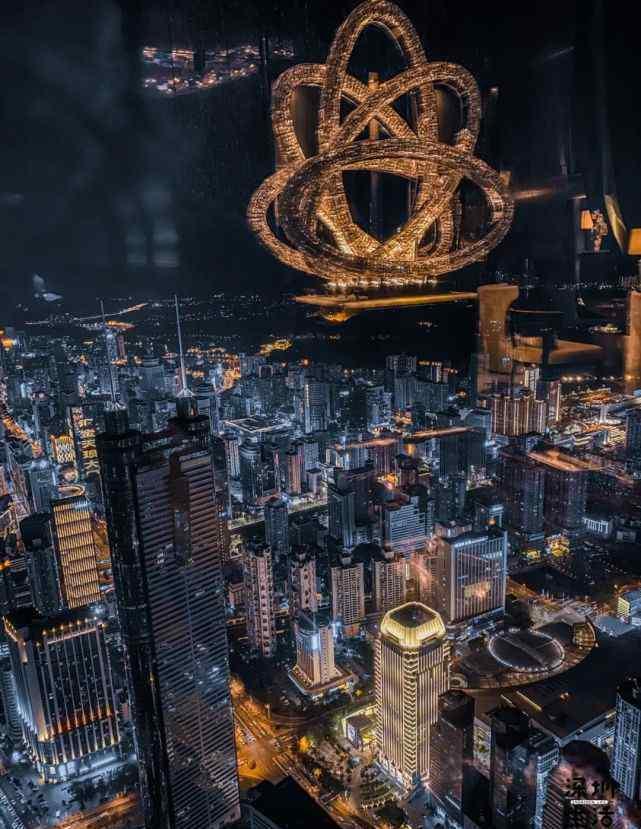 """深圳夜景 黑金大片!441.8米高空,换个姿势看""""深圳夜景""""……"""